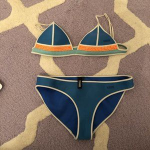 Blue, Orange Triangl Bikini.